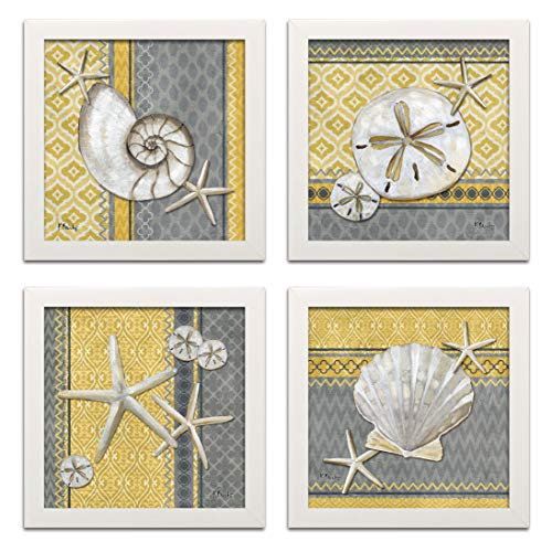 4 Lovely Grey and Yellow Ocean Seashell Sand Dollar and Star Fish Poster Prints with an Ikat Background; Nautical Decor; Four 12 by 12-Inch White Framed Prints; Ready to ()