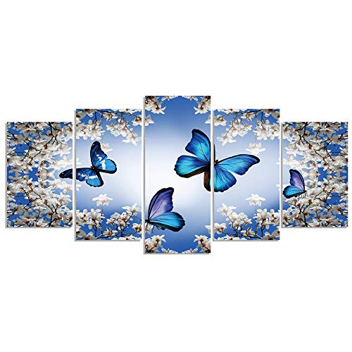 GEVES Blue Butterflies Flowers Wall Art Paintings for Living Room Bedroom Canvas Prints Framed Ready to Hang Home -