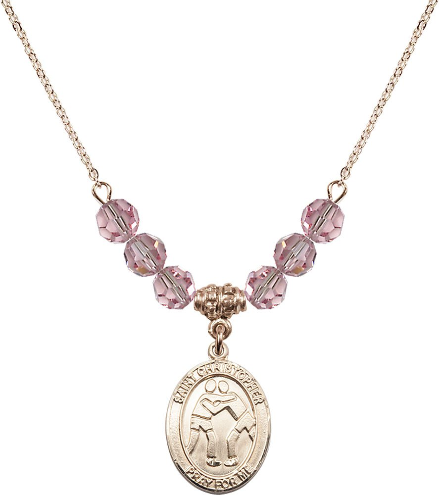 Gold Plated Necklace with 6mm Light Rose Birthstone Beads & Saint Christopher/Wrestling Charm. by F A Dumont