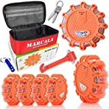 MARCALA LED Road Flares 6-Pack | The Only Roadside Safety Disc Kit with a Whistle | DOT Compliant LED Safety Flares Kit w/Batteries Installed, Carry-Case and 4 Extras | Feel Safer on the Road!