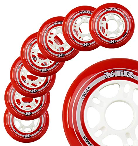 Inline Skate Wheels Hyper XTR - 8 Wheels - 84A - Size: 90MM - Speed Skating, Fitness and Recreational Wheels (RED, 90MM)