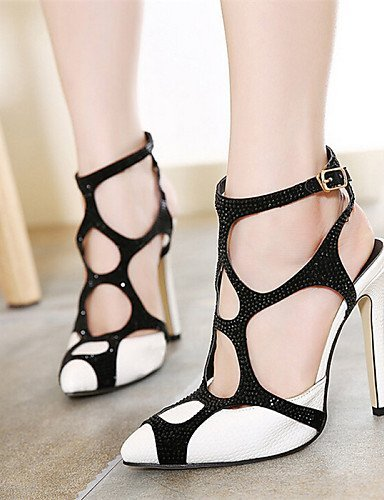 ShangYi Women's Shoes Stiletto Heel Wedges/Pointed Toe Sandals Casual Black/White White oYTyHSad