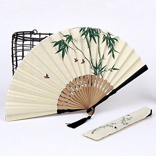 Handmade Hand-Painted Cotton and Linen Handle Folding Fan,Antique Japanese style (Bamboo bird) -