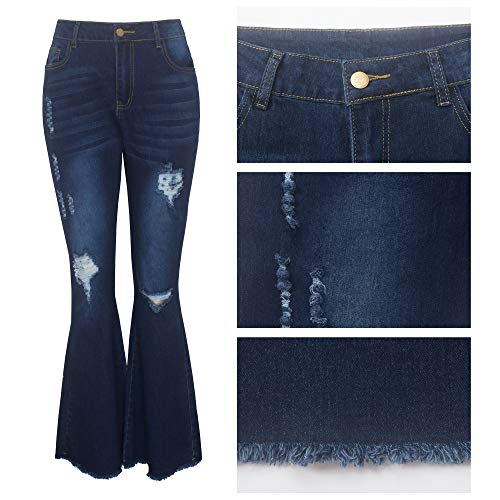 Women Bell Bottom Jeans high Waisted Ripped Skinny Hole Classic Flare Jean Pants