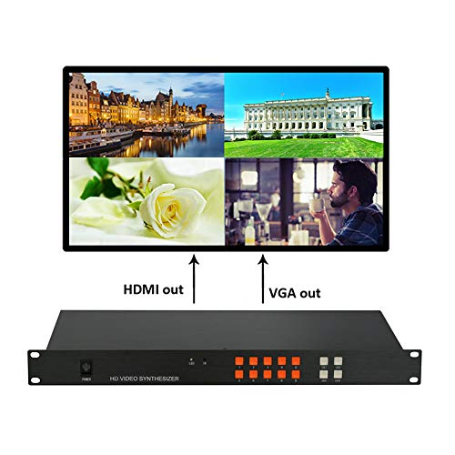 Color Multiplexer - RJ41 Quad Video Multiplexer Video HDMI VGA Video Input Supports Projector LCD DLP Plasma Display Unit Full Color LED 1080P Variety Modes of View (RJ41) 2x2 1x2 2x1 1x3 3x1 spliting Mode