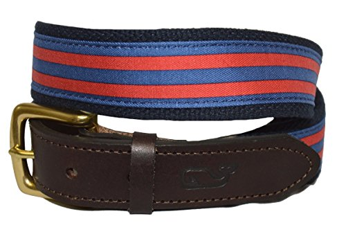 Vineyard Vines Mens Canvas Leather Club Belt (Jetty Red Stripe, 36)