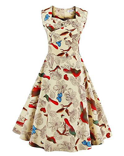 Femmes Formelles Pin Up Robe Audrey Vintage de Robes Beige 1950s YiLianDa Hepburn Soire Robe BA8dBU