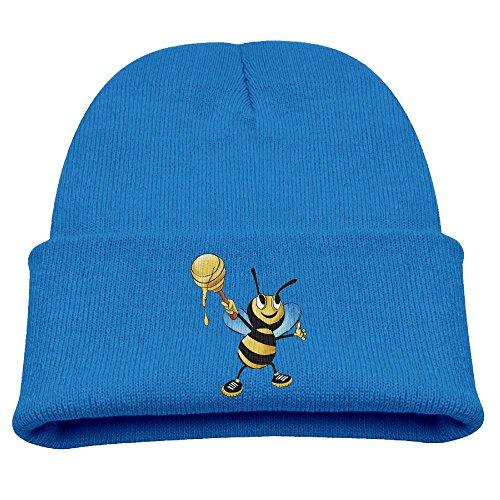 Aizhouqug Cute Bees and Honey Children's Winter Knitting Warm Hat Daily Slouchy Hats Beanie Skull Cap Knit Cap RoyalBlue