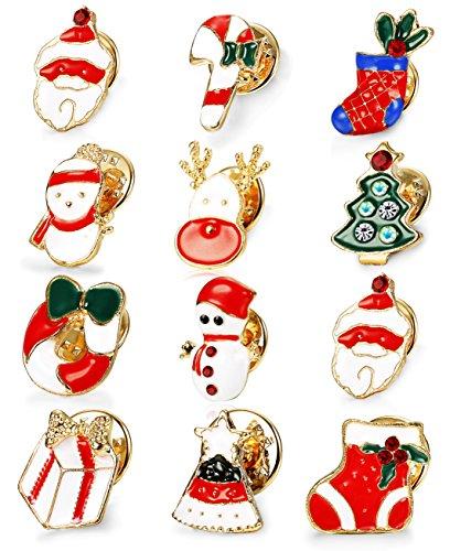 Pin Holiday Christmas (Thunaraz 12pcs Christmas Brooch Pin Set for Women Girls Holiday Brooches Chritmas Gifts)