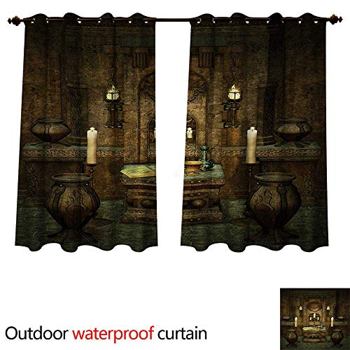 (WilliamsDecor Gothic Outdoor Curtains for Patio Sheer A Room with Altar in Fantasy Style Spells Spirituality Pentagram Symbols and Candles W55 x L45(140cm x)