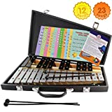 Glockenspiel 25 Note Chromatic C-C Tuned Xylophone Black Carrying Bag, 4 Mallets, Sheet Music Cards