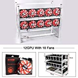 12 GPU Mining Rig With 10 Red Fan, Mining Rig Frame|Mining Case|Miner Case|Aluminum Stackable Open Air FrameFor ETH/ETC/ZCash/Cryptocurrency(Silver)
