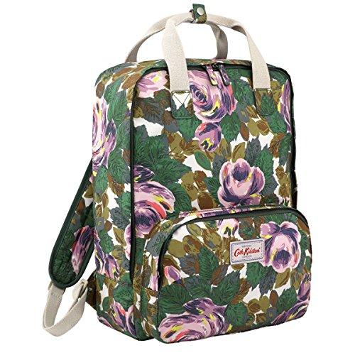 - Cath Kidston Matt Oilcloth Backpack Rucksacks Oxford Rose Bottle Green Fitting 13