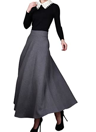 Medeshe Women's Classic Grey Wool Maxi Skirt Long Skirt Winter ...