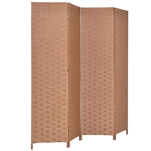 Giantex 6' Tall Folding Room Divider 4 Panel Hinged Decorative Freestanding Woven Paper Rattan Privacy Screens (Natural)
