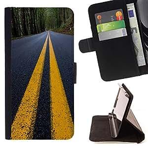 BullDog Case - FOR/LG G2 D800 / - / Yellow Lines Road Close Up Tarmac /- Monedero de cuero de la PU Llevar cubierta de la caja con el ID Credit Card Slots Flip funda de cuer