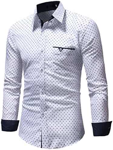 1b8d510e8d5 Men s Long Sleeve Dress Shirt Autumn Formal Polka Dot Slim Fit Top Blouse  Shirts