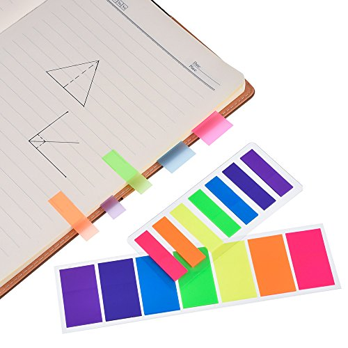 Antner 840 Neon Page Marker Colored Index Tabs Flags Fluorescent Sticky Note for Marking, 6 Stes, 2 Sizes Photo #6