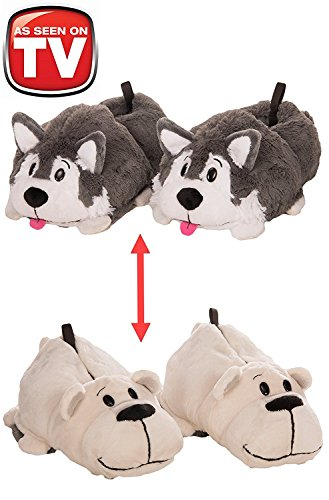 3 Tone Plush Stocking (Flipazoo AS Seen On TV Slippers Polar Bear Transforming To Husky Size Childrens 12/13 - Two In One Warm & Comfy Plush Slippers (Medium))