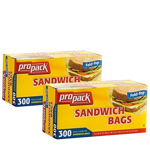Propack Sandwich Bags Fold & Close Top 300 Count Pack Of 2