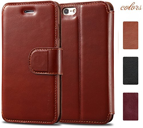 iPhone 6/6s Plus Leather Case, Acluxs Genuine Cow Leather Wallet Case for Apple Smartphone Leather Cover Wearable Snugly Folio Stand Style 100% Handmade Ultra Slim (Brown)
