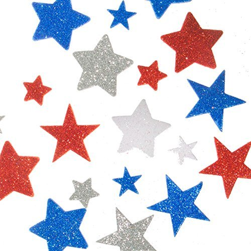 Fun Express Glitter Foam Patriotic Star Stickers