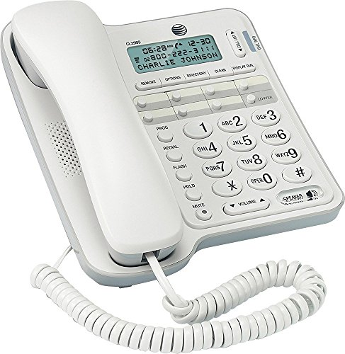 White Corded Speakerphone (CL2909 AT&T Standard Phone - White - Corded - 1 x Phone Line - Speakerphone - Caller ID)