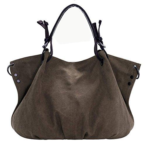 Canvas l'épaule Sac femme à porter Bag à SSMK Marron Tote pour 7wzq4x7d6