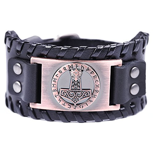 VASSAGO Vintage Norse Myth Thor's Hammer Viking Runes Celtic Knot Talisman Metal Leather Belt Buckle Bracelet (Black Leather, Antique Copper)