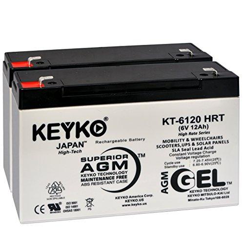 (Battery 6V 12Ah - Fresh & Real 14Amp - Deep Cycle AGM/SLA Designed for Generic Use - Genuine KEYKO KT-6120 HRT - F1 Terminal - 2 Pack)
