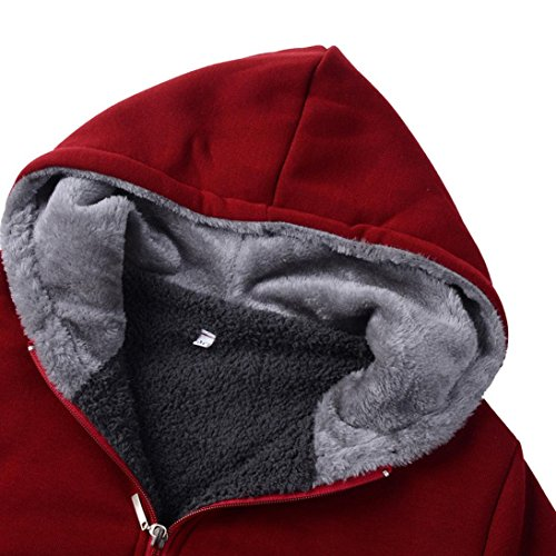 M Womens Wine Warm Thicker Hooded Winter Sweatshirt Jacket Coats Gray Deep Coat Velvet Overcoat Casual A1xwfpAq