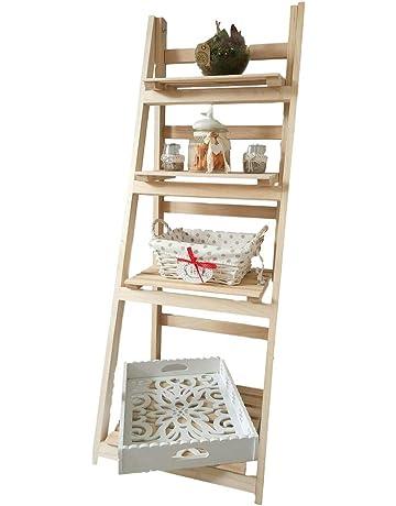 Amazinggirl Estantería de Madera de Pino con 4 estantes Plegables, para decoración del hogar,