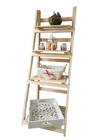 Wooden 4 Tiers Folding Storage Unit Standing Shelves Pine Wood Book Shelf Home Decor Plant Leaning