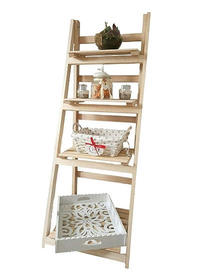 Estantería de madera de pino con 4 estantes plegables, para decoración del hogar, plantas