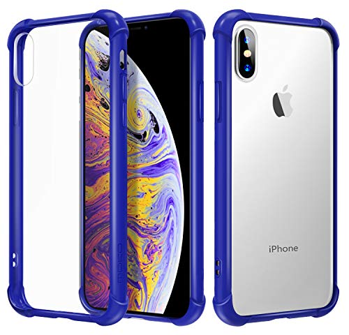 MoKo Compatible with iPhone X Case/iPhone 10 Case, Crystal Clear Reinforced Corners TPU Bumper, Anti-Scratch Rugged Transparent Hard Panel Cover Fit with Apple iPhone X 2017 - Indigo