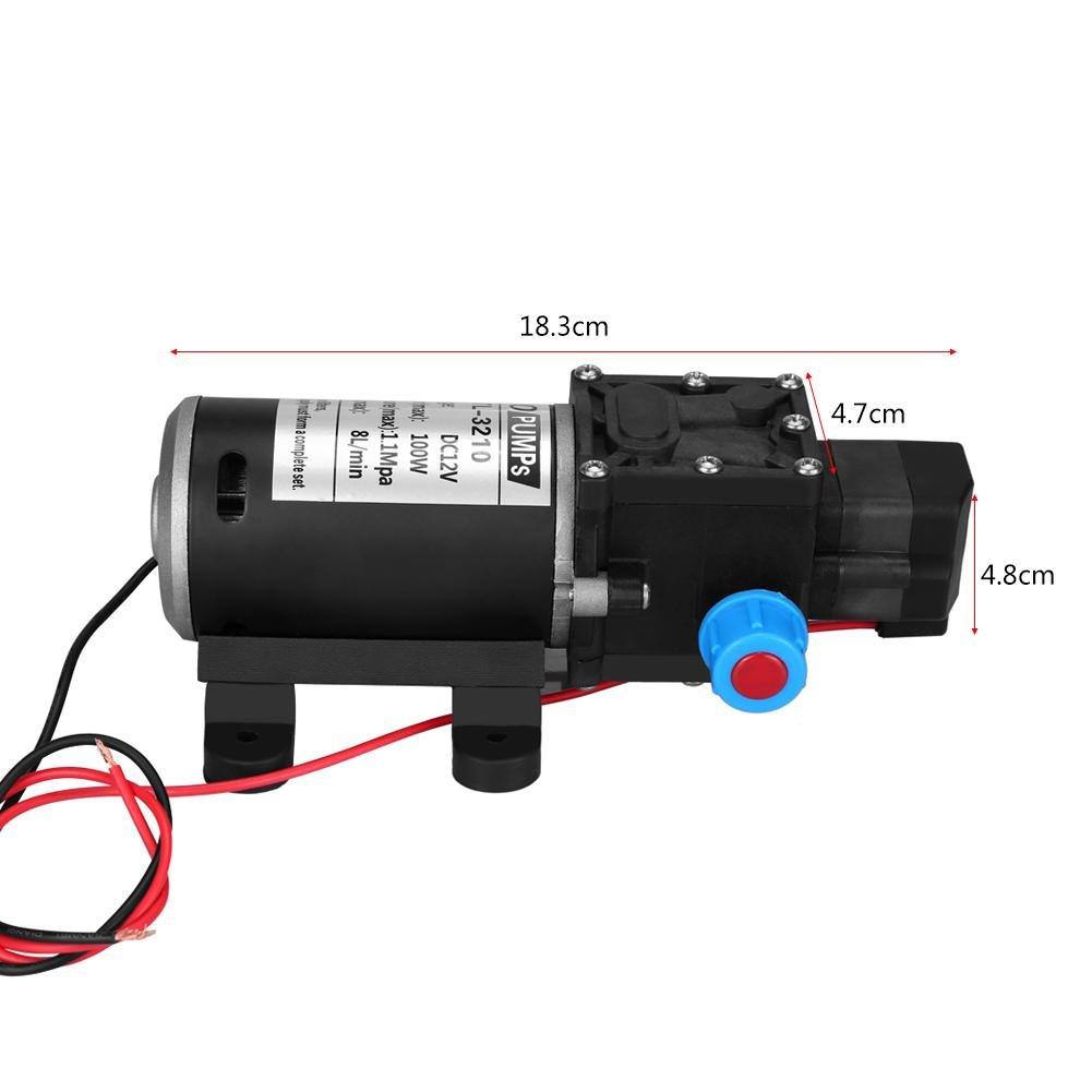 Pompa acqua autoadescante a membrana 12V da 100W 8L Min Pompa acqua ad alta pressione 160Psi Valvola intelligente con pressostato per lavatrice auto Energia solare Acqua