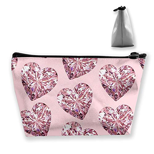 (SLADDD1 Pink Love Diamond Makeup Pouch Toiletry Cosmetic Bag Clutch - Multifuncition Storage Organizer with Zipper)
