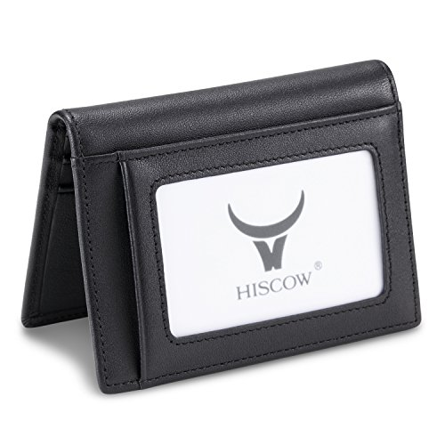 Outside Card Pocket (HISCOW Compact Credit Card Holder Black with 8 Slots - Italian Calfskin)