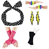 80s Fancy Outfit Costume Accessories Set,Leg Warmers,Fishnet Gloves,Earrings, Headband, Bracelet and Beads (OneSize, N21)