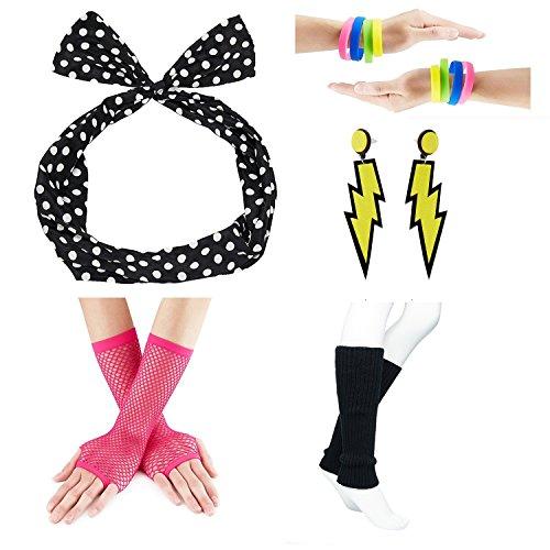 Jelly Bracelet Yellow (80s Fancy Outfit Costume Accessories Set,Leg Warmers,Fishnet Gloves,Earrings, Headband, Bracelet and Beads (OneSize, N21))