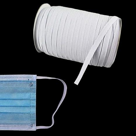 Gummi-Band Gummilitze Maskenband 25 Meter x 6 mm Weiß Meterware waschbar