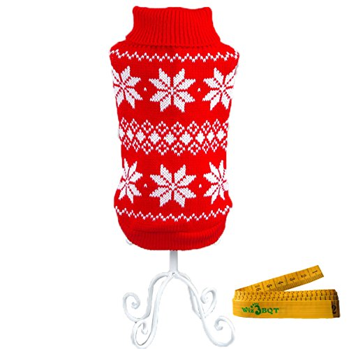 (Pet Dog Cat Christmas Snowflake Sweater for Dogs & Cats (Red & White, Extra Small))