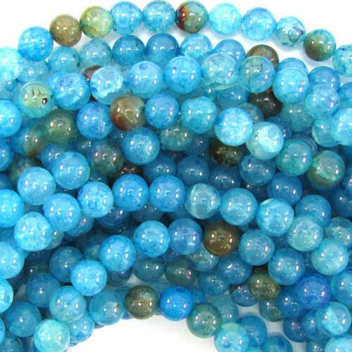 (Blue Crab Fire Agate Round Beads Gemstone 14.5