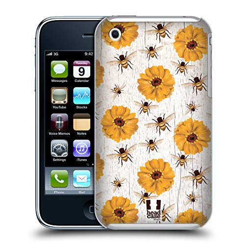 Head Case Designs Zinnia E Api Charm Campagnolo Cover Retro Rigida per Apple iPhone 3G / 3GS