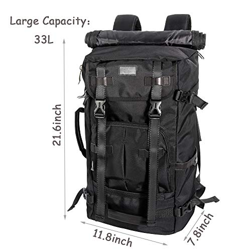 Travel Luggage Backpack, 3 Ways Carry on Backpack Canvas Rucksack for Men 33L