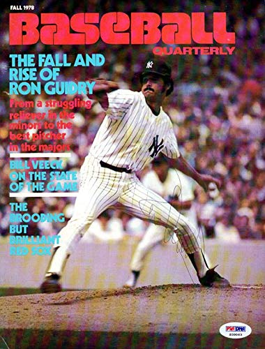 Ron Guidry Autographed Baseball Quarterly Magazine Cover New York Yankees #S39063 PSA/DNA Certified