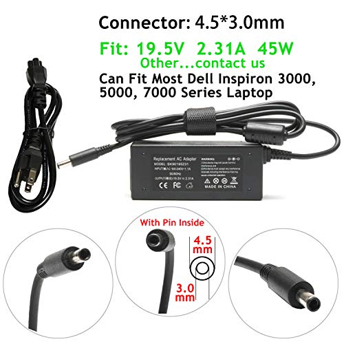 45W 19.5V 2.31A AC Adapter Laptop Charger Replacement For Dell Inspiron 15-5000 5551 5555 5558 7558 7595,13-7000 7378 7352 7348,11-3000 15-3000 15-7000 13-5000 17-5000 17-7000 Series power supply cord