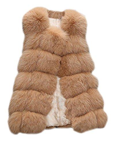 Long Vest Femme En Manches Pour Fourrure Sans Gilet Coat Fausse Manteau Chameau rfqx5vrw
