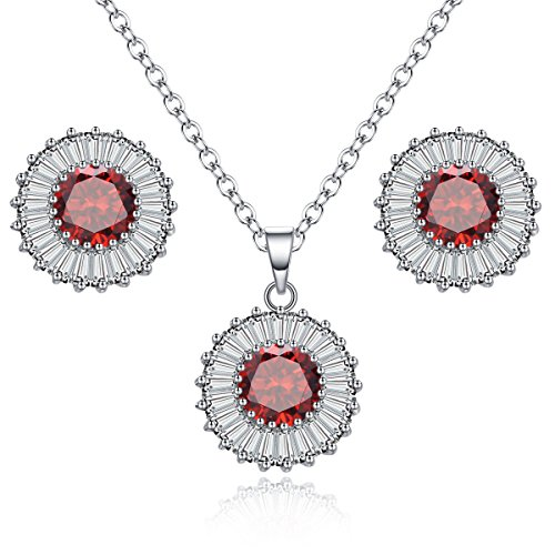 Jewelry Sets for Women,Stud Earrings Necklace Jewelry 18k White Gold Plated Fashion Jewelry Sets for Girls Ruby