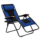 PHI VILLA Oversize XL Padded Zero Gravity Lounge Chair Wooden Armrest Adjustable Recliner with Cup Holder